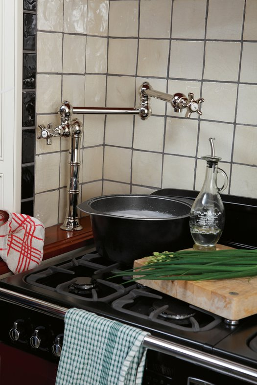 Retro look kitchen faucet with movable arms