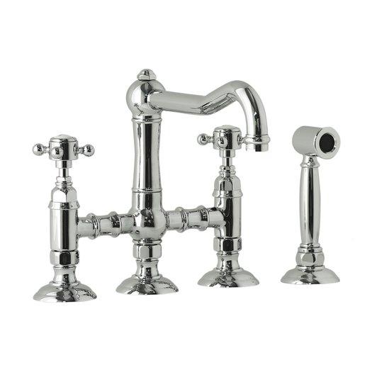Retro kitchen bridge mixer with hand shower