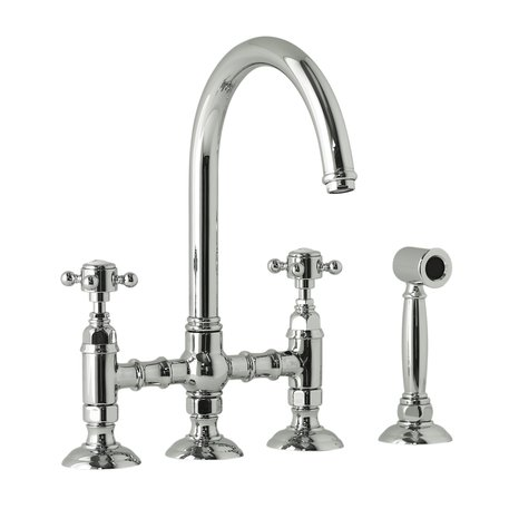 950.1460WS.70.CR bridge mixer with hand shower for the retro style kitchen