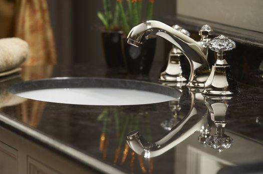 Prestigious Teide faucet on a country style bathroom furniture