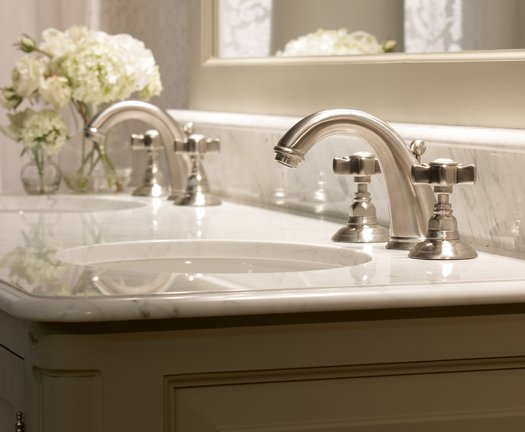 Faucet 950.2108.18.NS in brushed nickel on a country style vanity unit