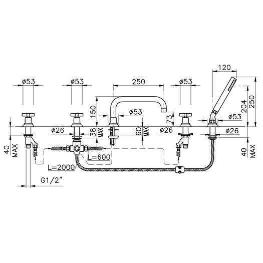 M.Croce 5-hole deck-mounted bathtub mixer 950.2224.xx.xx