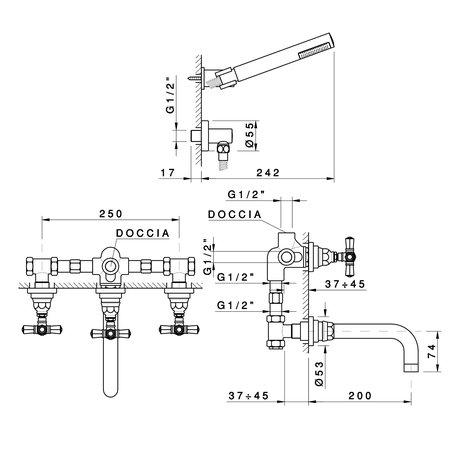 Duplex bath & shower ensemble Agora 950.2303.xx.xx