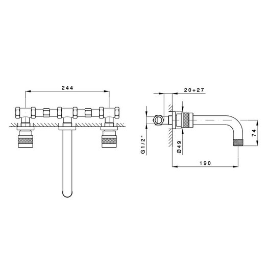Wall mounted mixer Khady for the design bathroom