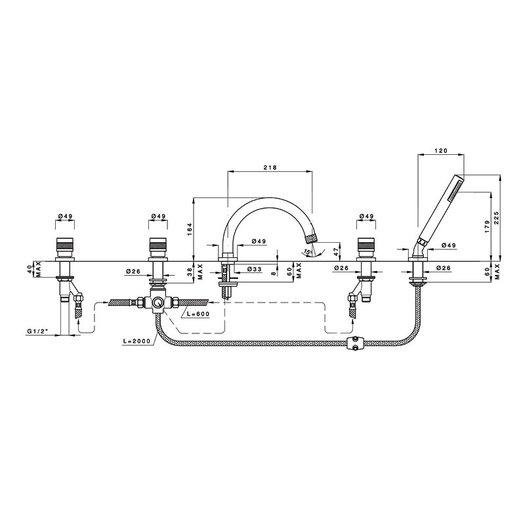 5-hole deck mounted bathtub mixer 950.2414.21.xx