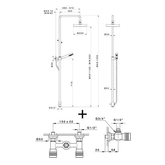 Shower system Khady 950.2425E.21