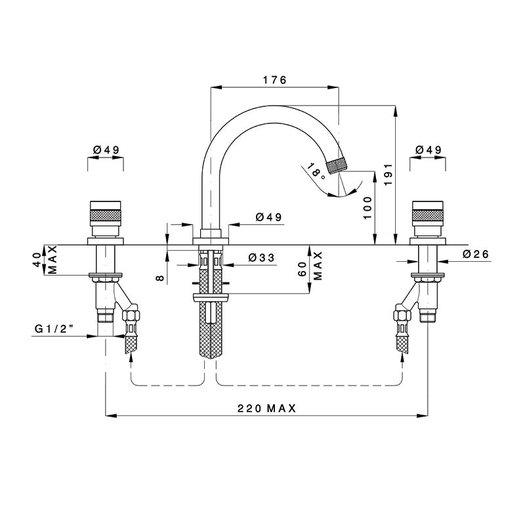3 hole washbasin mixer Khady 950.2428TC.21.xx
