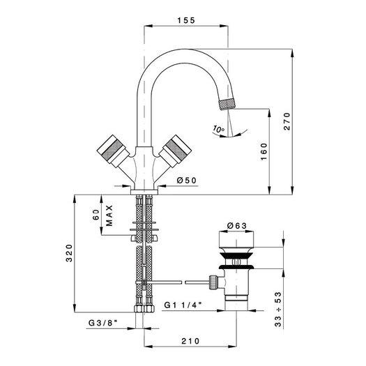 Washbasin faucet Khady 950.2436.21.xx