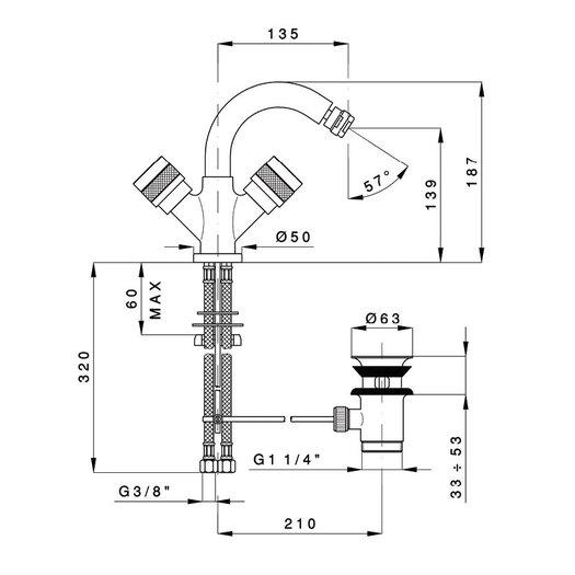 Bidet mixer Khady 950.2437.21.xx