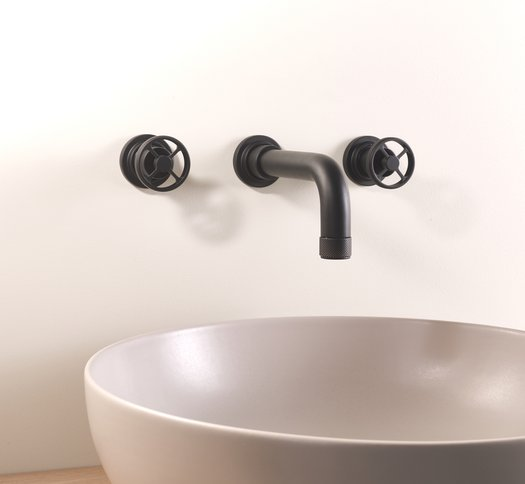 Arena 3 hole wall mounted basin mixer tap in mat black 02