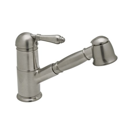 Single lever kitchen faucet with extendable hand shower