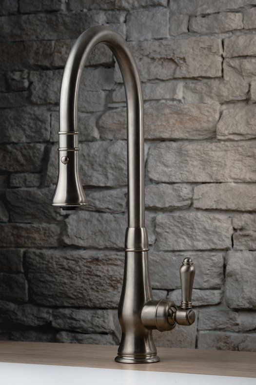 Kitchen single lever mixer with extendable hand shower for the retro style kitchen
