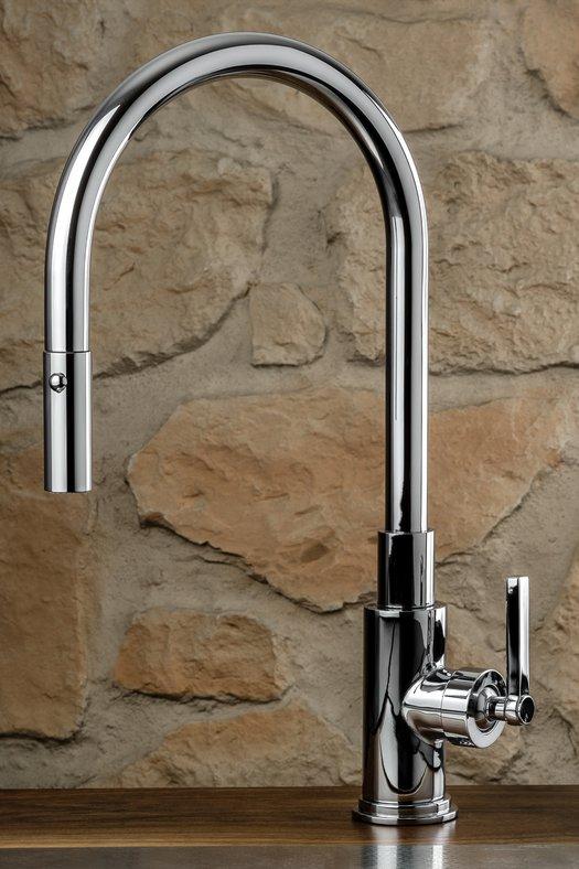 Designer kitchen faucet with hand shower