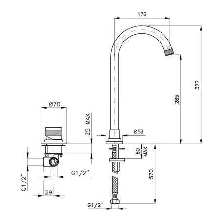 Tablet mounted high single lever basin mixer