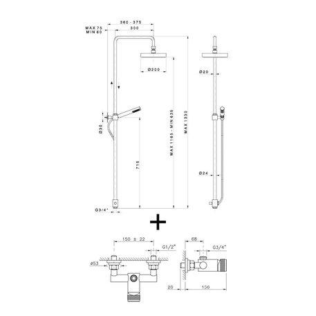 Shower system 950.3725E.94N.xx for the contemporary bathroom
