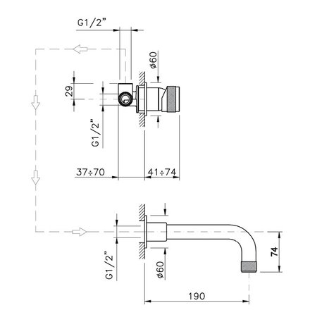 Single handle wall faucet for the design bathroom