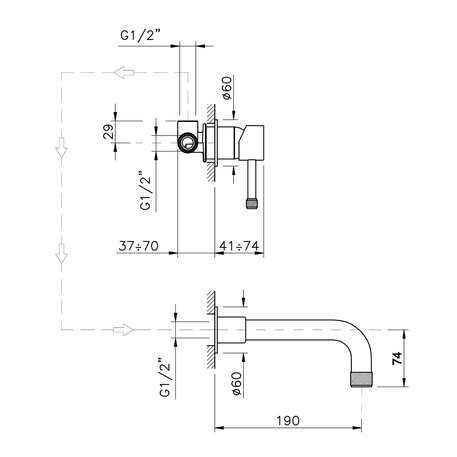 Single lever wall mounted mixer tap for washbasin 950.3778.xx.xx
