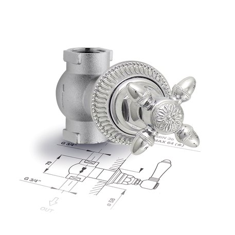 Built-in shower cut-off valve with traditional look