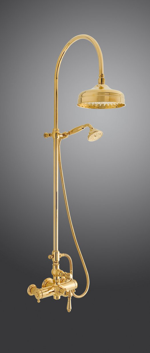 Gold brass thermostatic shower column for the cottage bathroom