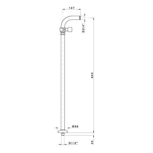 Floor mounted standpipe kit for bathtub mixer with ajustable handshower bracket
