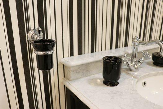 Black porcelain toothbrush holder