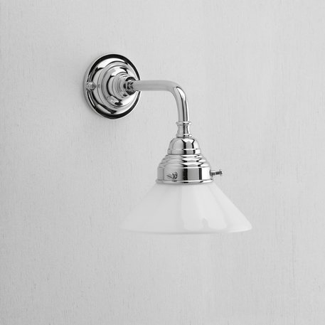 Retro wall lamp with white glass shade
