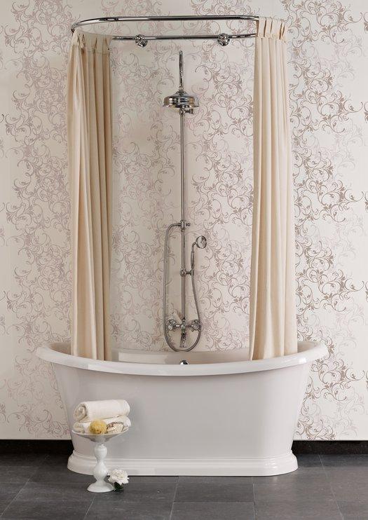 Freestanding bathtub Bateau with shower curtain