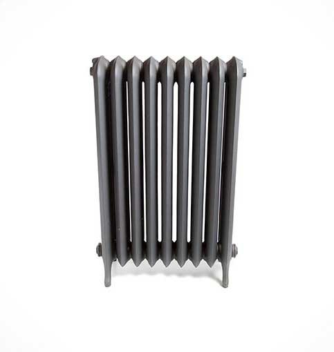 Side view of smooth cast iron radiator