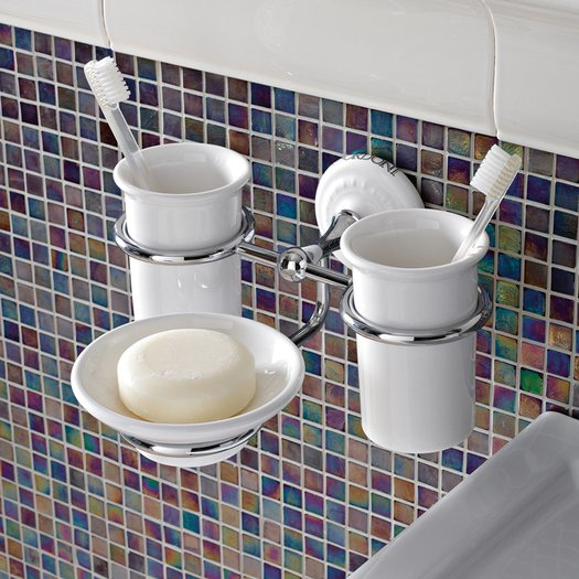 Elegant double cup holder with soap dish for the classic bathroom
