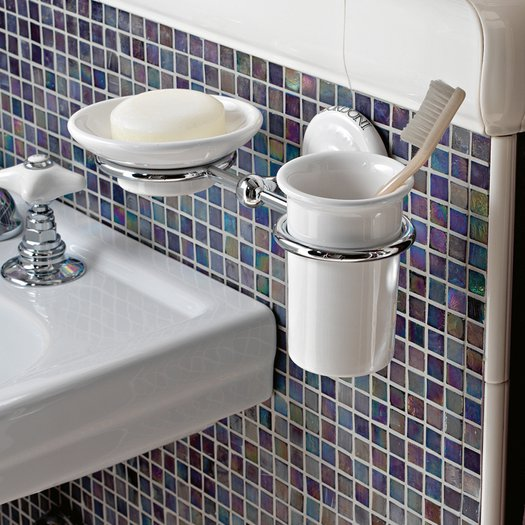 Classic cup and soap holder, wall mounted