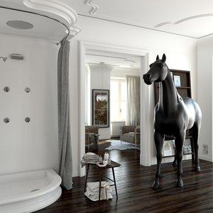 Colonial retro built-in shower arrangements