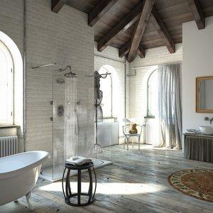 Colonial retro built-in shower arrangements 01