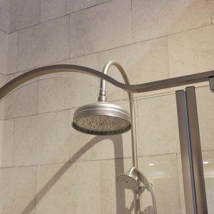 Detail Gold shower enclosure in brushed steel 04