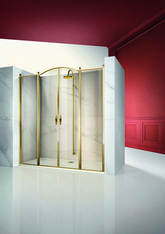 GL4 Gold shower setup with 2 doors and 2 fixed panels mood