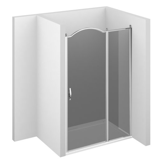 Gold GLZ shower enclosure with fixed panel and door