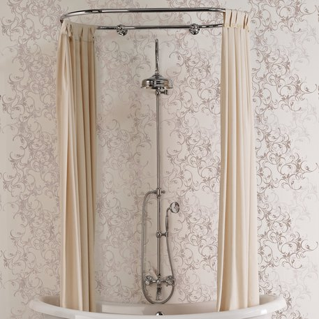 Shower curtain holder in cottage style for the bathroom