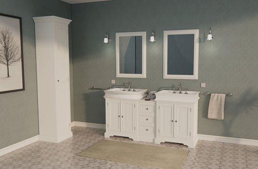 Cottage bathroom furniture with 2 basins of 170 cm wide