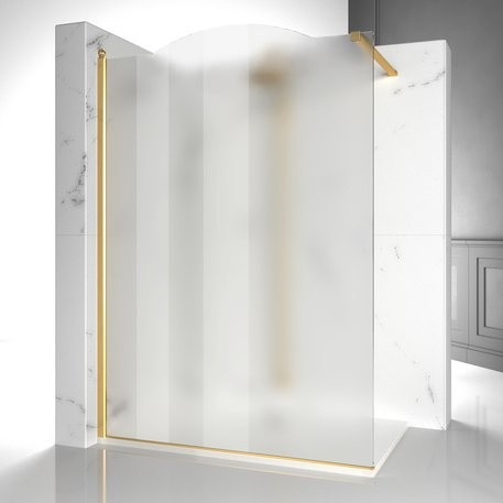 Gold Walk-In shower enclosure with mat glass