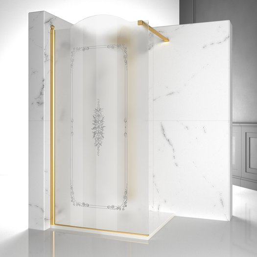 GLK walk-in shower screen with decorative design