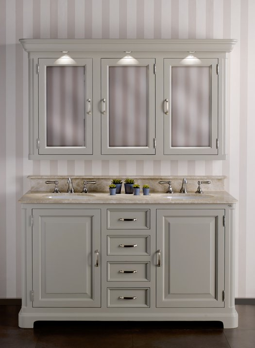 Classic bathroom vanity unit Regent 155 with 2 washbasins