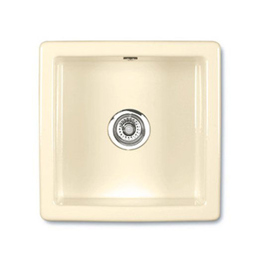 Square kitchen sink of 46 x 46 cm in biscuit color
