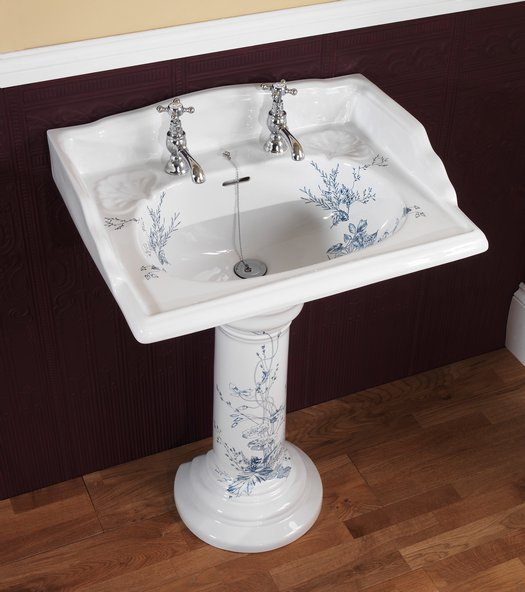Victorian basin on pedestal in the Victorian blue garden finish