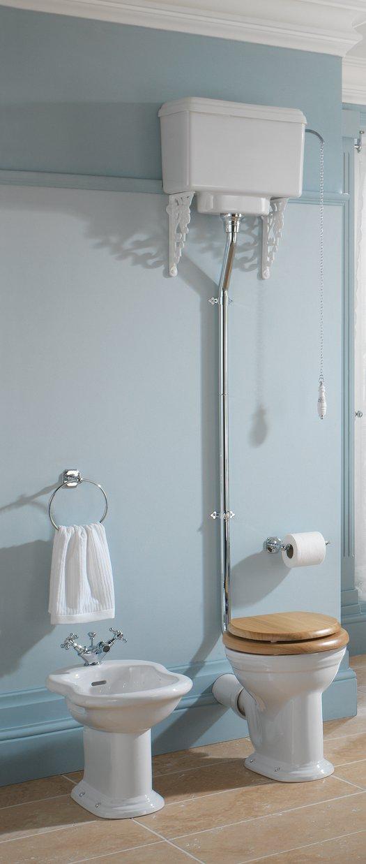 Cottage toilet setup with high level flush mechanism and bidet