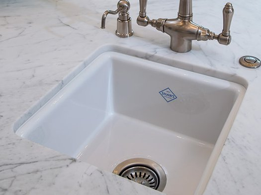 Sink integrated in marble kitchen top