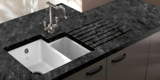 Elegant sink in the kitchen countertop