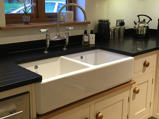 Porcelain sink in a contemporary kitchen