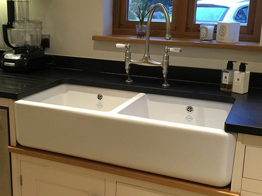 Porcelain very wide sink for the contemporary kitchen