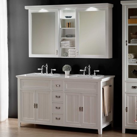 Chambord bathroom furniture with 2 washbasins for the cottage bathroom