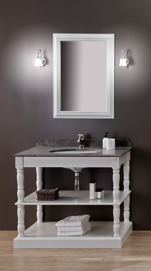Orléans cottage open washbasin furniture with 1 washbasin, a mirror and 2 shelves