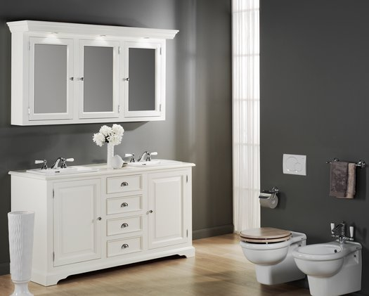 Cottage bathroom furniture with mirror wall cabinet